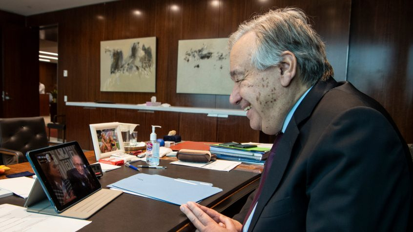 Secretary-General António Guterres wishes happy birthday to Captain Tom Moore on his 100th birthday. Mr. Moore is a WWII veteran from the UK who walked around in his garden to raise money for Britain's National Health Service. UN Photo/Eskinder Debebe