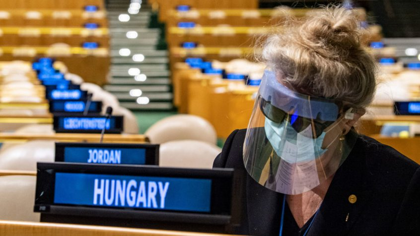 UN Photo/Eskinder Debebe Katalin Bogyay, Permanent Representative of Hungary to the United Nations, prepares her ballots during the elections in the General Assembly Hall.