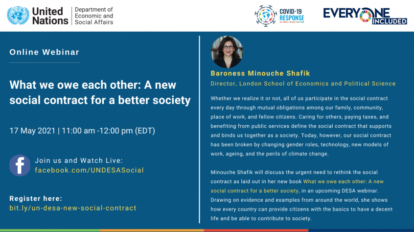 Webinar on What we owe each other: A newsocial contract for a better society