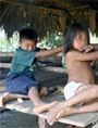 Colombian indigenous children in jungle settlements in Panama
