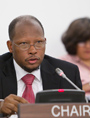 Ambassador George Wilfred Talbot of Guyana, Chair of the General Assembly's Second Committee, during discussions. UN Photo/Rick Bajornas