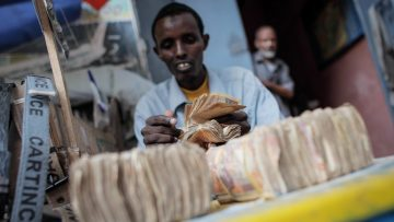 SOMALIA, Mogadishu: In a photograph taken 23 October 2013 and released by the African Union-United Nations Informtaion Support Team 25 October, a money exchanger counts Somali shilling notes on the streets of the Somali capital Mogadishu. Millions of people in the Horn of Africa nation Somalia rely on money sent from their relatives and friends abroad in the form of remittances in order to survive, but it is feared that a decision by Barclays Bank to close the accounts of some of the biggest Somali money transfer firms – due to be announced this week - will have a devastating effect on the country and its people. According to the United Nations Development Programme (UNDP), an estimated $1.6 billion US dollars is sent back annually by Somalis living in Europe and North America. Some money transfer companies in Somalia have been accused of being used by pirates to launder money received form ransoms as well as used by Al Qaeda-affiliated extremist group al Shabaab group to fund their terrorist activities and operations in Somalia and the wider East African region. AU/UN IST PHOTO / STUART PRICE.