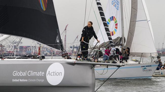 Teen activist Greta Thunberg arrives in New York by boat, putting 'climate crisis' in spotlight | UN DESA | United Nations Department of Economic and Social Affairs