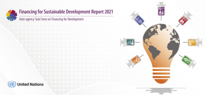 The cover of the Financing for Sustainable Development Report, featuring a map of the world in the shape of a lightbulb surrounded by vaccine vials with each of the FfD topics.