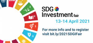 An image of the SDG wheel is accompanied by text reading SDG Investment Fair, 13-14 April 2021