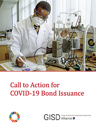 Scientist with mask works in a lab on cover of Call of Action for COVID-19 Bond Issuance