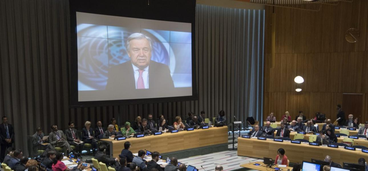 Secretary-General Antonio Guterres addresses a meeting virtually at United Nations headquarters