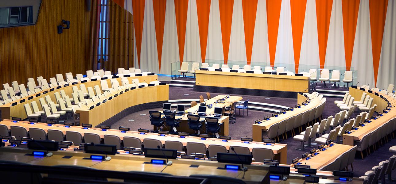 The ECOSOC chamber at UN headquarters sits empty.