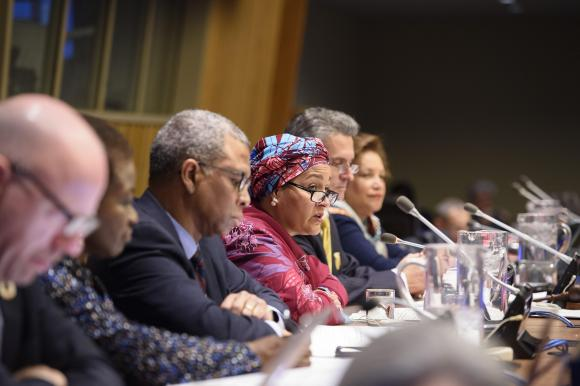 Deputy Secretary-General Amina Mohammed (centre) makes remarks during the opening segment of the fifty-first session of the Commission on Population and Development.