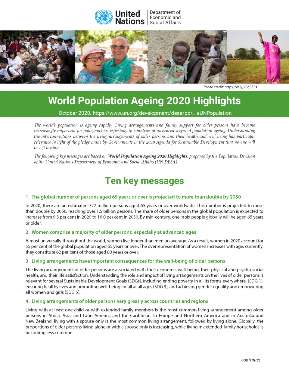 Population ageing ten key messages cover image