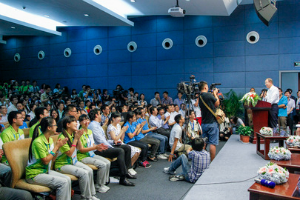 Secretary-General Attends Youth Event at Nanjing University Secretary-General Ban Ki-moon (at lectern, right) addresses youth during an event at Nanjing University hosted by the All-China Youth Federation on the occasion of the Nanjing 2014 Summer Youth Olympic Games.