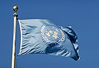 The Flag of the United Nations was created on 20 October 1947. Its use is regulated by the United Nations flag code and regulations. The design of the UN emblem was approved on 7 December 1946, it embraces a map of the world inscribed in a wreath consisting of crossed branches of the olive tree.