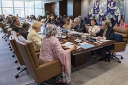 On 12 July 2017, Secretary-General António Guterres (on far right) meets with heads of department and senior UN officials, including Deputy Secretary-General Amina Mohammed (foreground left)