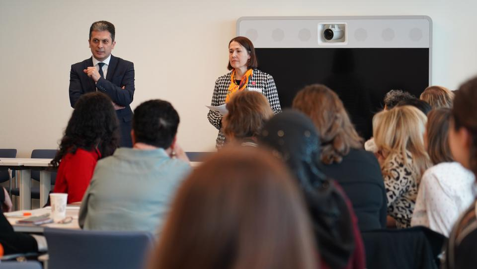 USG Movses Abelian speaking at an event about gender equality at UNHQ. UNHQ/DGACM