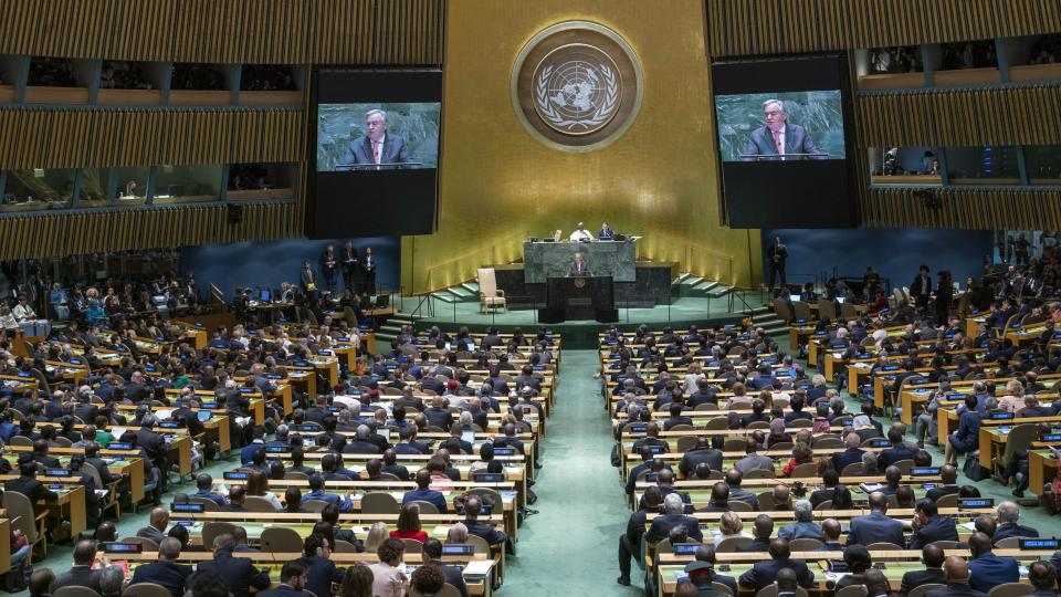 The Secretary-General addresses the opening the General Assembly's 74th session. UN Photo/Cia Pak