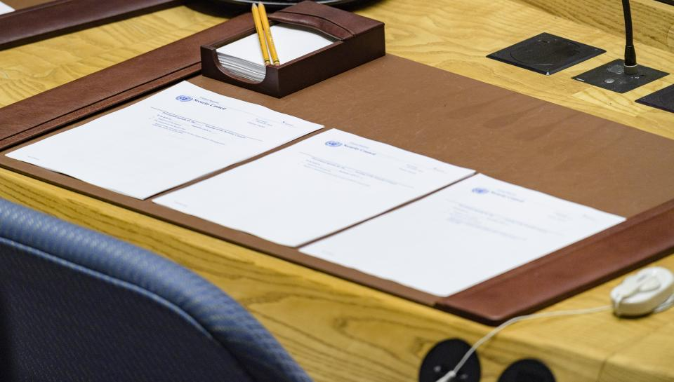 A view of documents outlining the agendas for three Security Council meetings. UN Photo/Manuel Elias