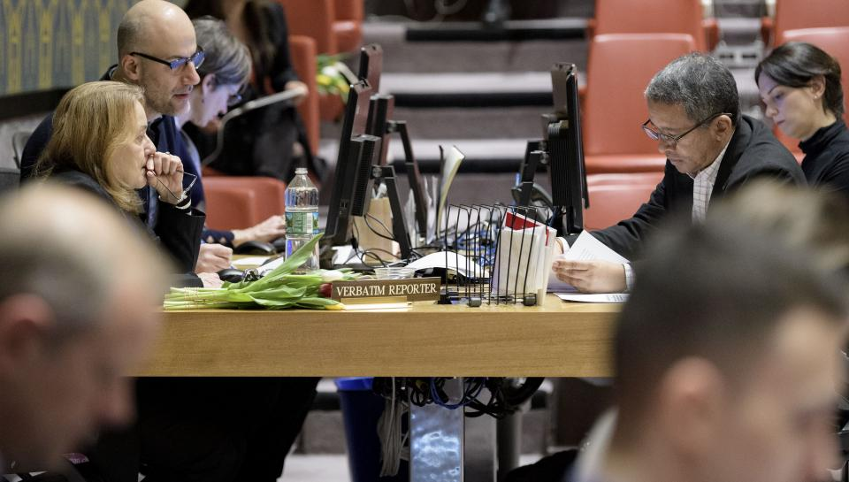 A verbatim reporter working at a meeting of the Security Council.