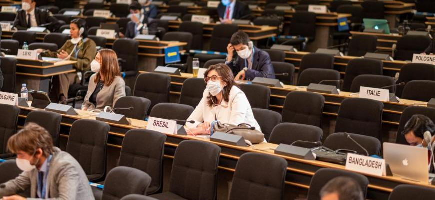 Representatives from the Member States at a meeting of the 43rd session of the Human Rights Council.