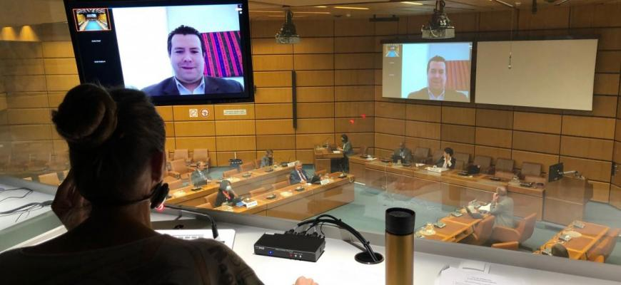 An interpreter at work in the CMS informational meeting with Member States and client organizations.