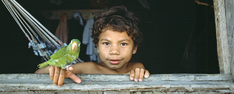 Kid in window, Brazil, 1982