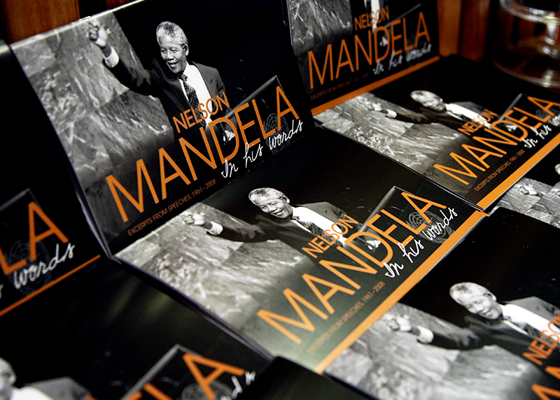 A display of the books entitled 'Nelson Mandela: In his words' on a table.