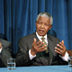 President Nelson R. MANDELA of South Africa addressing correspondents at a press conference held at United Nations Headquarters.
