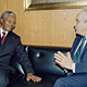 Secretary-General, Javier Perez de Cuellar (right), meets with Nelson Mandela, President of the African National Congress. 3 December 1991