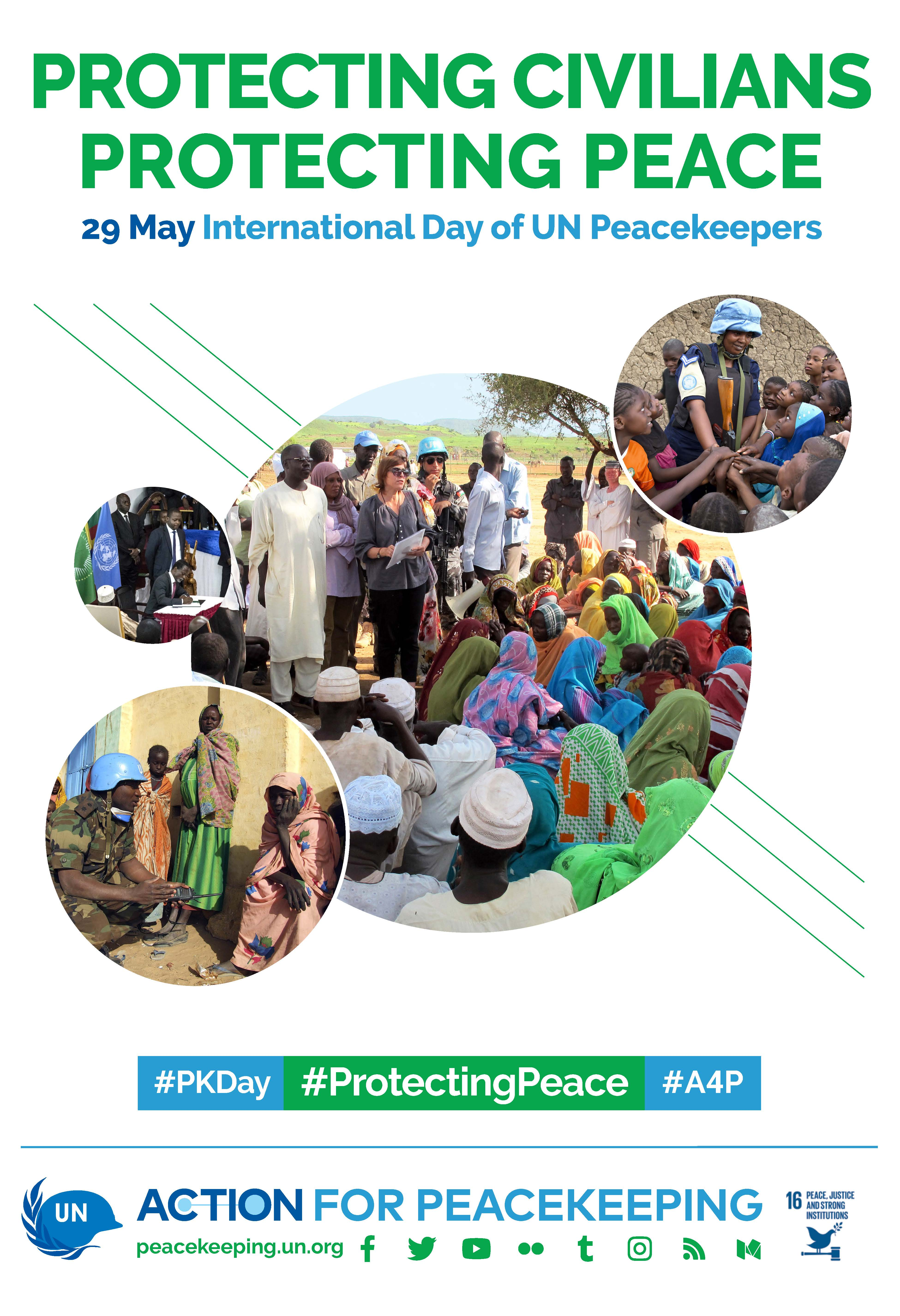 Protecting Civilians Protecting Peace - campaign poster with several images of blue helmet UN staff in the field working with civilians