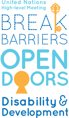 Logo created for the High-level meeting of the General Assembly on disability and development with the text 'Break Barriers: Open Doors' that also includes symbols of a key and keyhole.