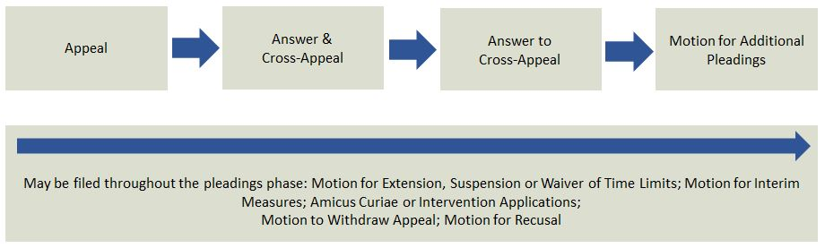 Chart of appeals process, which begins with pleading phase.