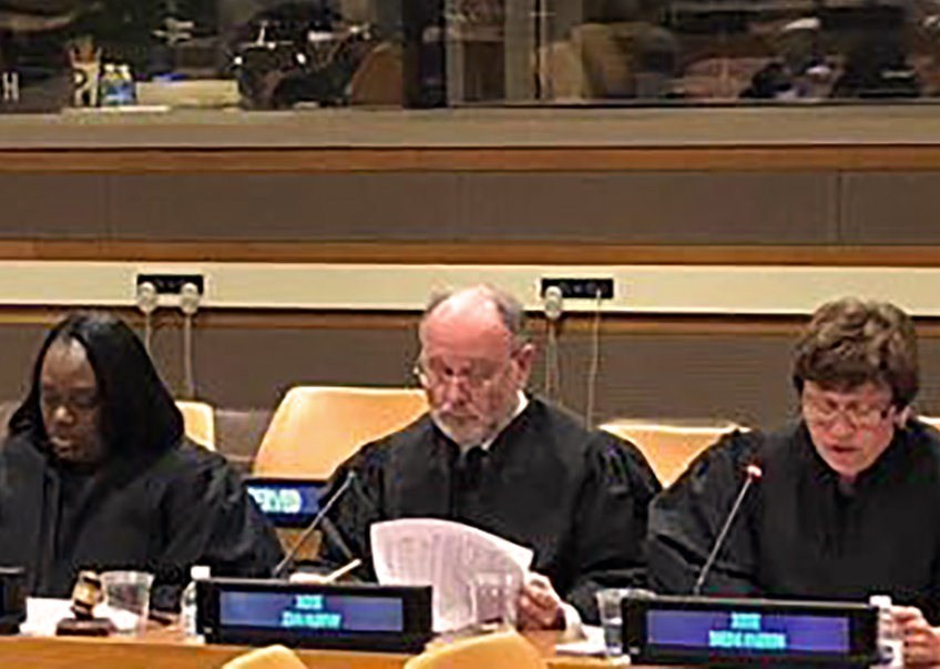 Photo of UN Appeals Tribunal judges in a conference room