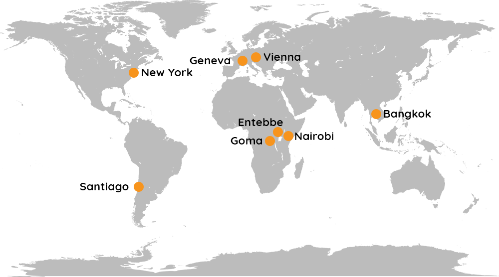 Map of the world showing our 8 regional offices, with a link to a detailed directory