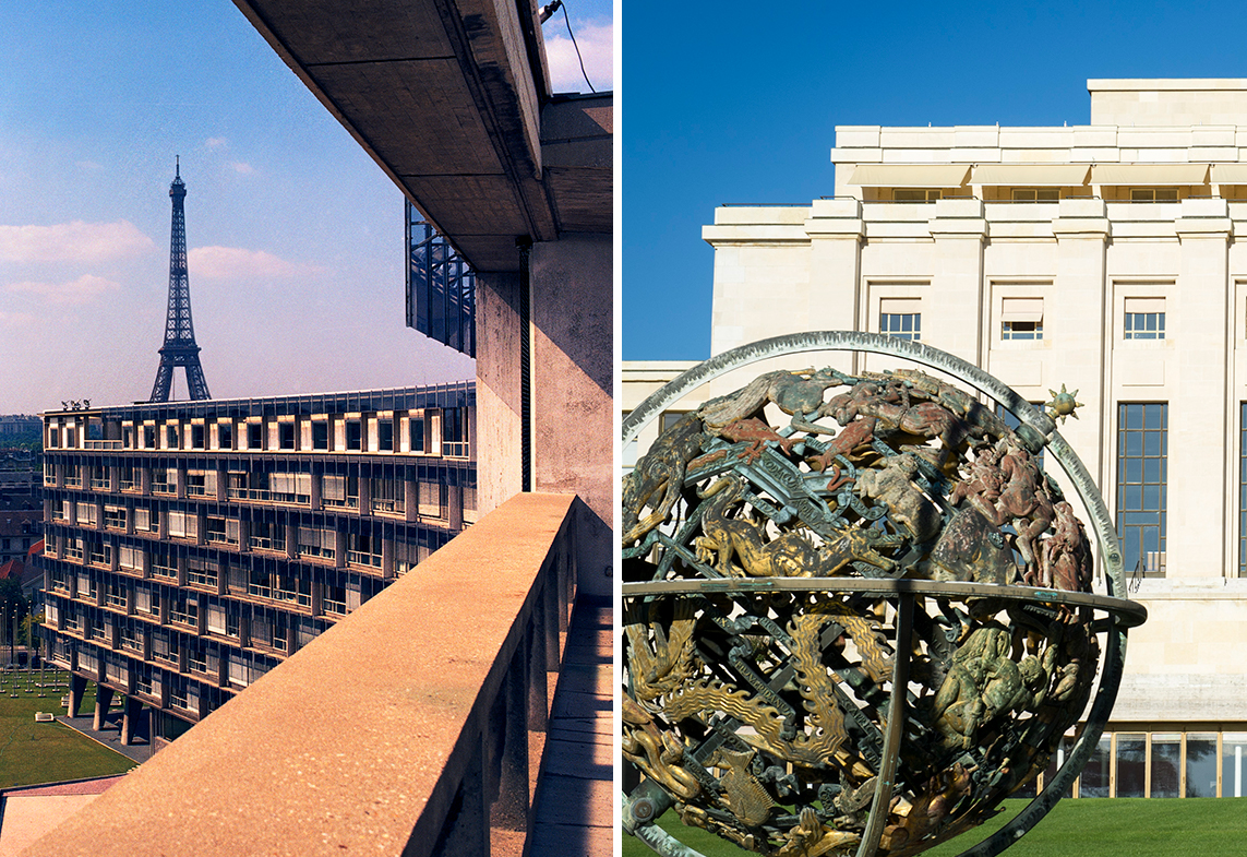 Two pictures: on the left is a view of the Palais des Nations, seat of the UN Office at Geneva (UNOG), on the right is a view of UNESCO's headquarters in Paris.