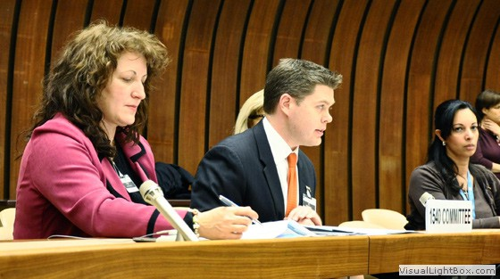 Mr. Michael Aho (centre) US Member of the 1540 Committee, delivering a message from the 1540 Chair at the meeting of the States Parties to the Biological Weapons Convention in Geneva on 9 December. With him is 1540 Expert Ms. Dana Perkins (left).