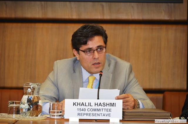 Mr Khalil Ur Rahman Hashmi from the Permanent Mission of Pakistan to the United Nations and member of the 1540 Committee, delivers a message from the Chair of the 1540 Committee at the International Arab Banking Summit 2013, Vienna, Austria, 28 June 2013.