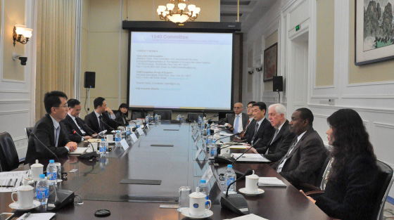 Photo at China Arms Control and Disarmament Association (CACDA), of Ambassador Oh Joon, Chair of the 1540 Committee and the delegation met with Chinese academia and industry  representatives on 24 October 2014 during the Committee's visit to China.