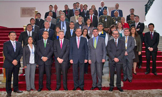 Photo of participants at Official launching of Colombia's 1540 National Implementation Action Plan, organized by the Government of Colombia and the Executive Secretary of the Organization of American States (OAS) Inter-American Committee against Terrorism, 6 November 2014, Bogotá, Colombia.