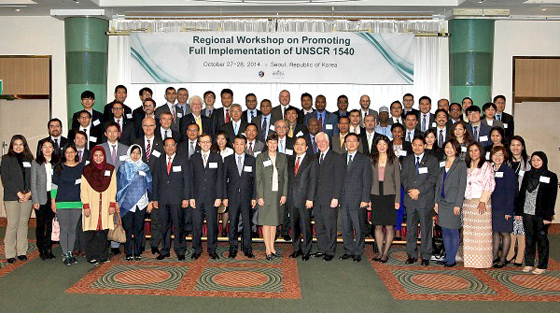 Photo of participants from 30 countries who participated in  the Regional Workshop on  Promoting Full Implementation of UN Security Council Resolution 1540 (2004): Sharing Effective Practices, Revitalising Assistance, and Developing Future Strategy, which  took place in Seoul, Republic of Korea from 27 to 28 October 2014.