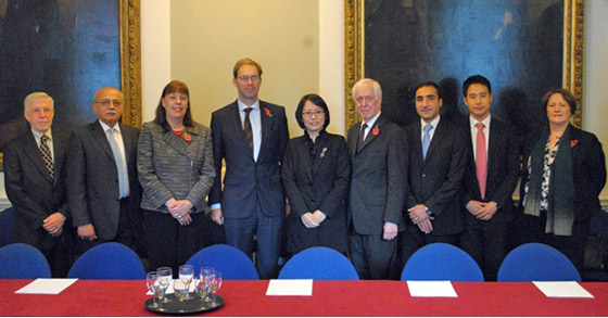Photo of UK Country Visit in London. Members of the 1540 Committee and Group of Experts met Mr. Tobias Ellwood MP, Parliamentary Under-Secretary of State (fourth from left). To the right of Mr Ellwood is the leader of the 1540 Committee delegation Ambassador Paik Ji-Ah, Deputy Permanent Representative of the Republic of Korea to the United Nations, New York.