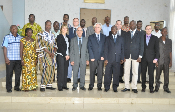 The Director-General for Multilateral Relations in the Ministry of Foreign Affairs H. E. Mr. Saïdou Zongo and the Head of the Delegation of the European Union in Burkina Faso H. E. Mr. Alain Holleville welcomed the participants in the National Workshop on the Implementation of the Biological Weapons Convention (Ouagadougou, 21-22 October 2014)