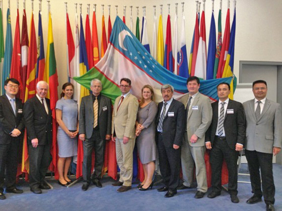 Photo of Representatives from the Government of Uzbekistan along with members of the 1540 Group of Experts, the Conflict Prevention Centre at OSCE, the IAEA and UNODC who met in Vienna on 19 and 20 June to discuss Uzbekistan's 1540 National Implementation Action Plan.