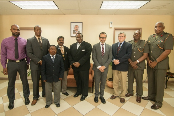 The Hon. Steadroy Benjamin, Attorney General and Minister of Legal Affairs and Public Safety and participants at the National 1540 Round table, Antigua and Barbuda, 12-14 August 2015.