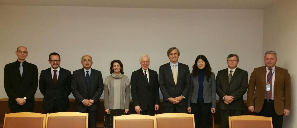 1540 Committee Chair, Ambassador Román Oyarzun Marchesi (fourth from the right), and experts supporting the work of the 1540 Committee, 15 January 2015, New York.