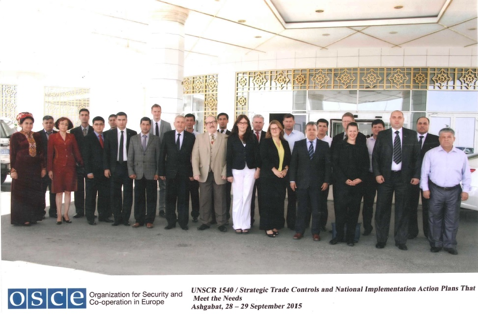 Participants in an event in Ashgabat, Turkmenistan to help the national authorities to develop a voluntary 1540 National Implementation Action Plan on 28 and 29 September 2015.
