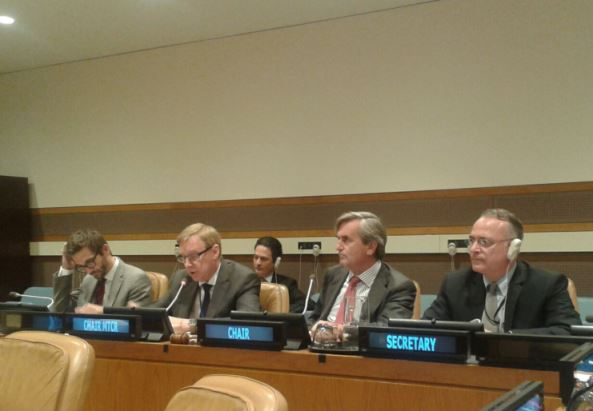 Ambassador Roald Næss, Chair of the Missile Technology Control Regime (second from left) , addressing the 1540 Committee on 18 September, alongside the 1540 Chair Ambassador Roman Oyarzun Marchesi (second from right).
