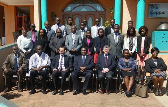 Honourable Dr. George T. Chaponda M. P, Minister of Foreign Affairs and International Cooperation of the Republic of Malawi, and national stakeholders at the meeting on Malawi's voluntary National Implementation Action Plan held in cooperation with the 1540 Committee and UNREC, Lilongwe, Malawi, 20 to 22 May 2015.