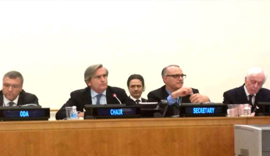 Ambassador Román Oyarzun Marchesi  (second from left), Chair of the 1540 Committee, briefs Member States on the Comprehensive Review of the status of implementation of resolution 1540 (2004) and on the Committee's  formal open consultations to be held on 20-22 June.