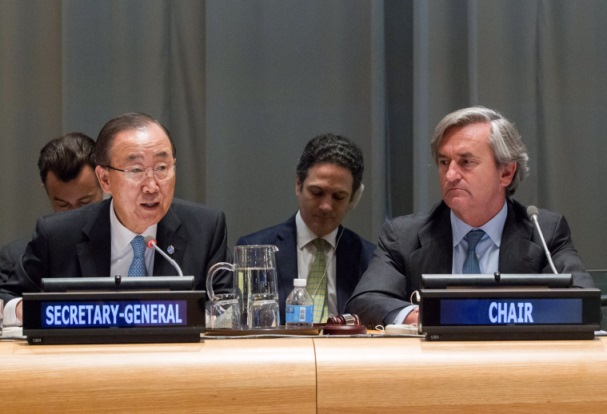 The UN Secretary-General Mr. Ban Ki-moon with Ambassador Román Oyarzun Marchesi, Chair of the 1540 Committee, on 21 June during the consultation meeting with Member States, international organisations and civil society, part of  the Committee's 2016 Comprehensive Review of the implementation of resolution 1540 (2004)