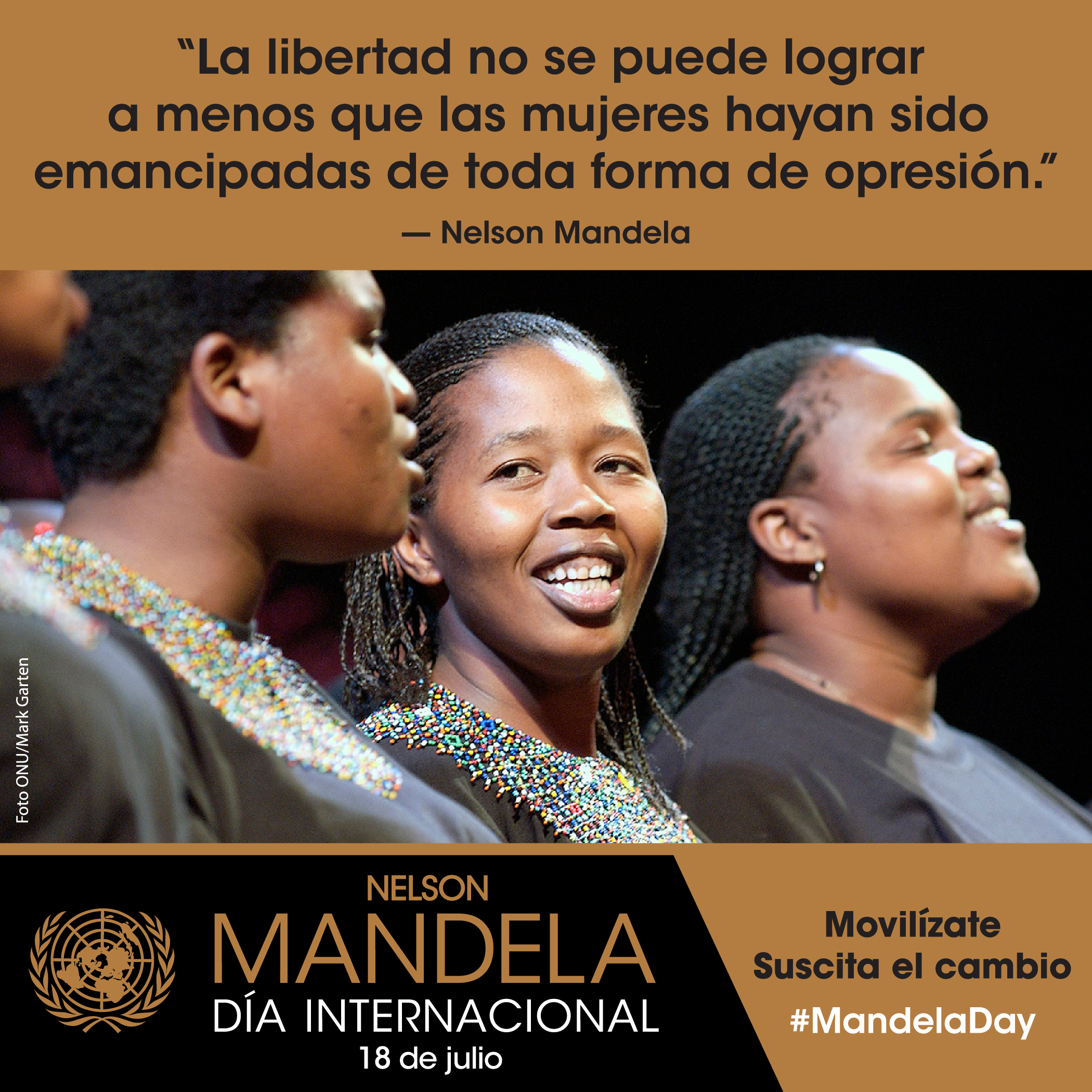 photo card with the quote: 'Freedom cannot be achieved unless the women have been emancipated from all forms of oppression.'
