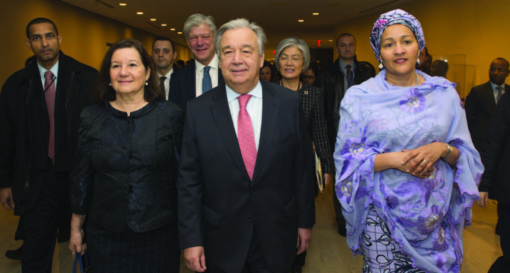 Secretary-General António Guterres on his first day in office accompanied by Maria Luiza Ribeiro Viotti (left), Chef De Cabinet and Deputy Secretary-General Amina J. Mohammed (right). UN Photo/Eskinder Debebe